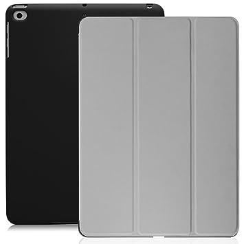 KHOMO Funda iPad 9.7 2018 y 2017 (5ta y 6ta Generación) Carcasa Ultra Delgada y Ligera con Smart Cover Apple iPad 9,7 2017 y 2018 - Gris y Negro