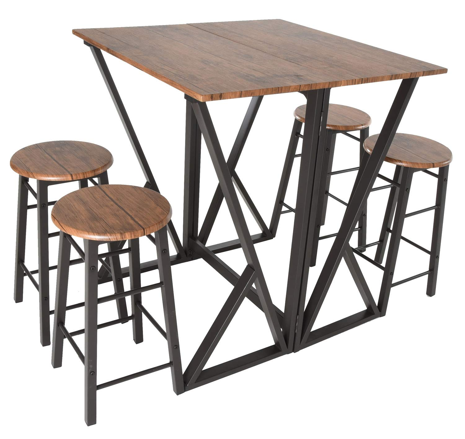 Zenvida 5 Piece Pub Dining Set Drop Leaf Bar Height Kitchen Table with 4 Stools by Zenvida