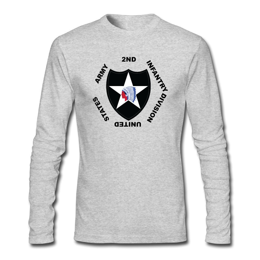 Mens 2nd Infantry Division Long Sleeve T-Shirt HeatherGray