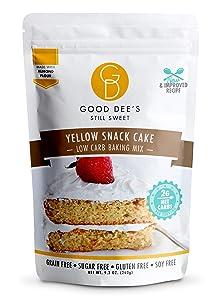 Good Dee's Yellow Snack Cake Mix- Low carb, Sugar free, gluten free, grain free, Atkins friendly, Diabetic friendly, WW friendly, 12 servings