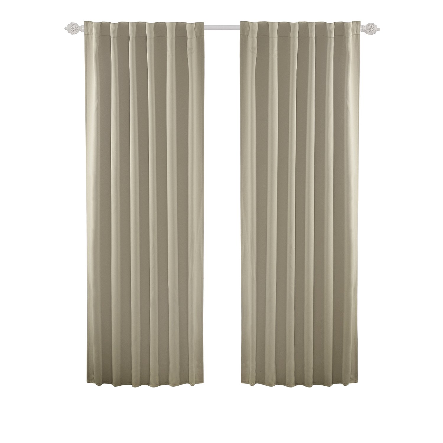 Deconovo Solid Thermal Insulated Curtain Rod Pocket and Back Tab Blackout Curtains for Bedroom 52x84 Inch Beige 2 Panels