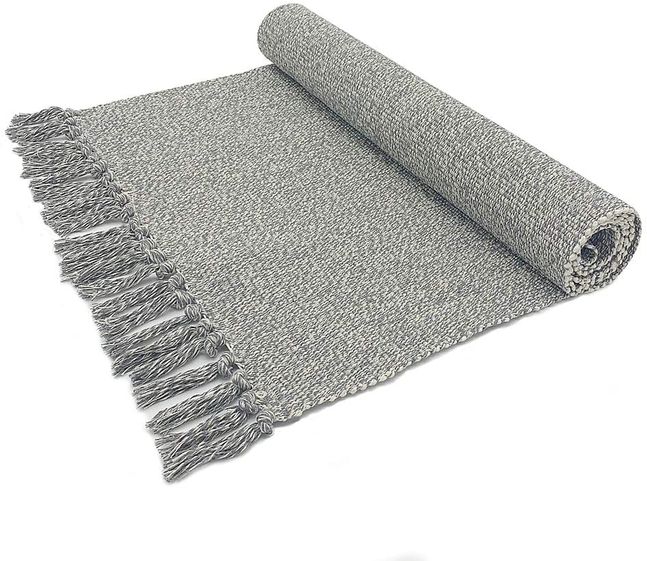 Eanpet Braided Rug Cotton Area Rug Hand Woven Reversible Floor Rug Pure Tassels Throw Rugs Door Mat Laundry Room Rug Indoor Runner Bathroom Tablecloth Grey 2x3 FT