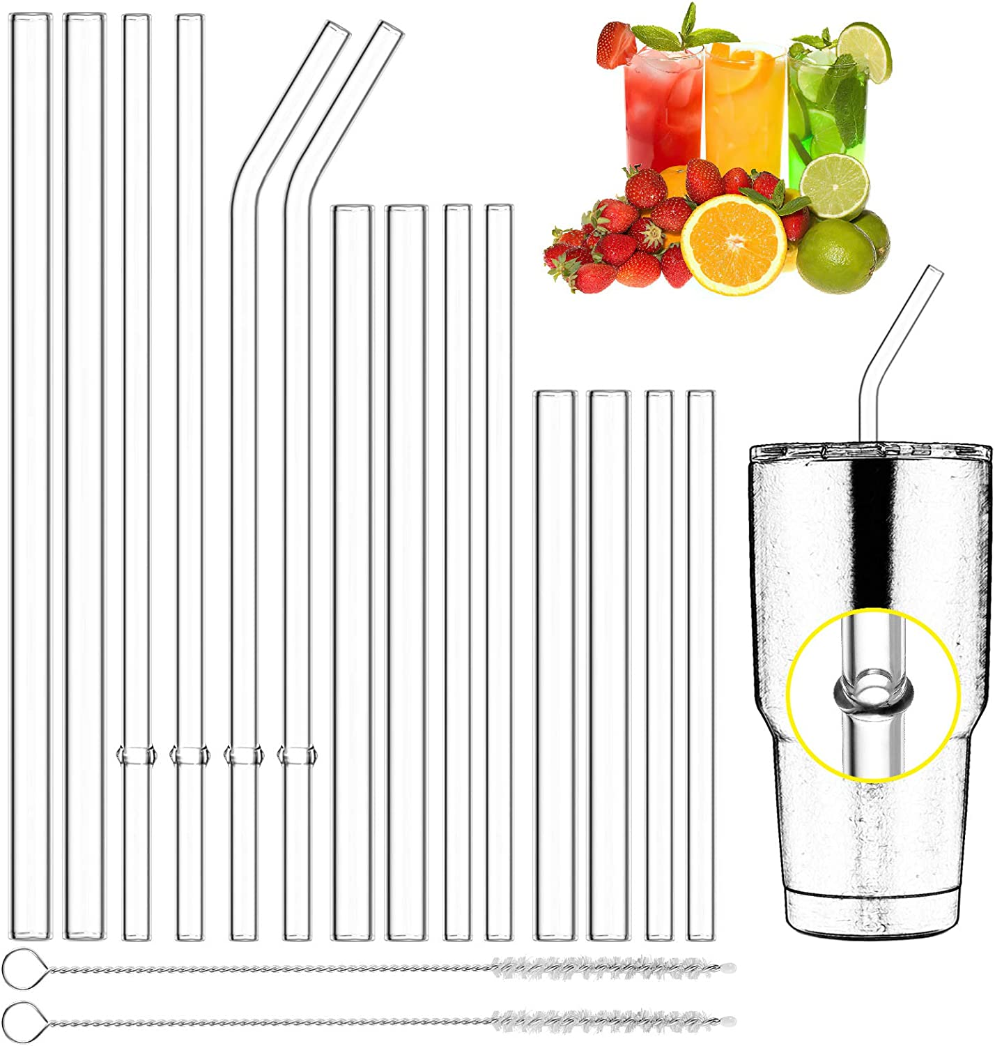 Qisiewell Reusable Glass Drinking Straws - 14 x Straws 3 x Lengths 2 x Thickness 2 x Sisal Cleaning Brushes - Smoothie Straws for Milkshakes, Frozen Drinks, Bubble Tea, Fruit Juice