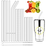 Qisiewell Reusable Glass Drinking Straws - 14 x Straws 3 x Lengths 2 x Thickness 2 x Sisal Cleaning Brushes - Smoothie Straws