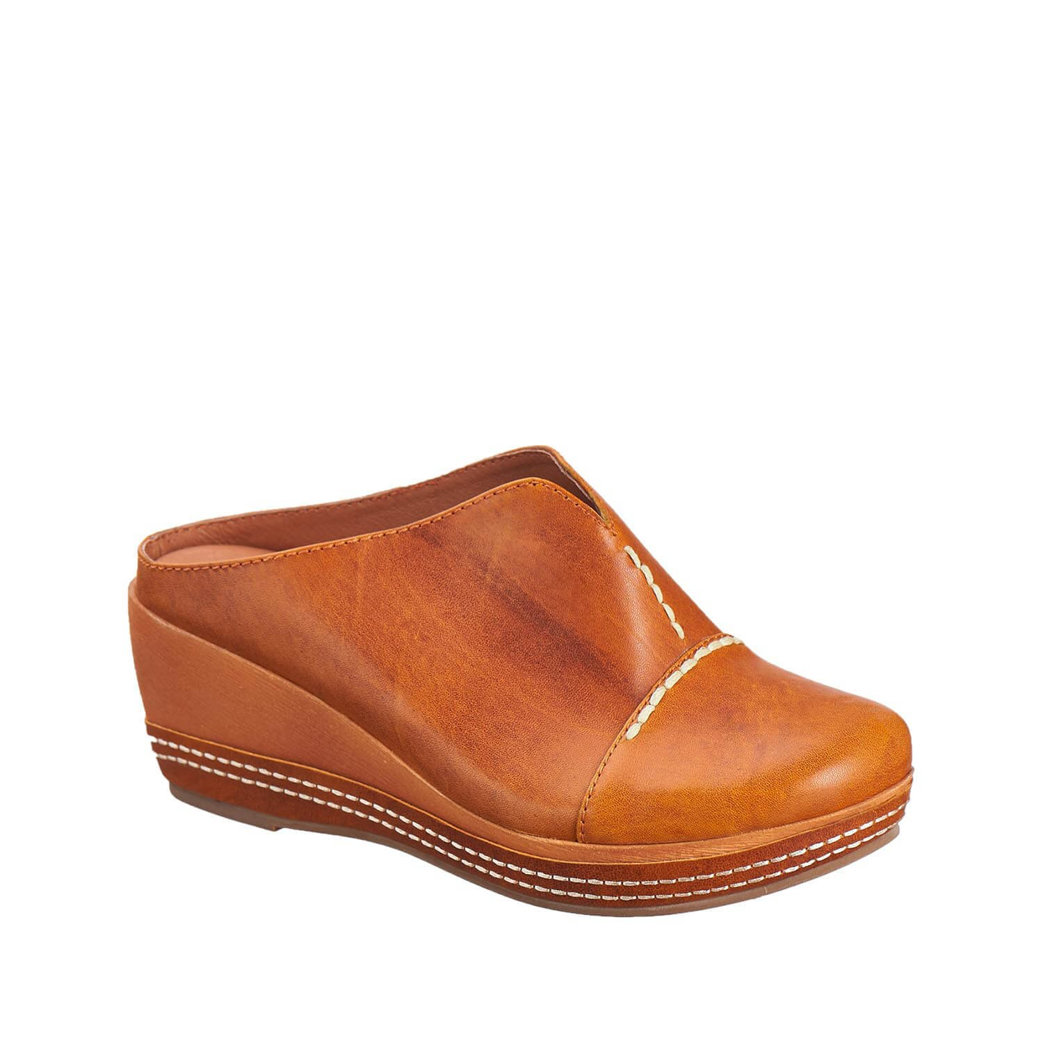Antelope Women's 420 Tobacco Leather Lower Stitched Clog 38
