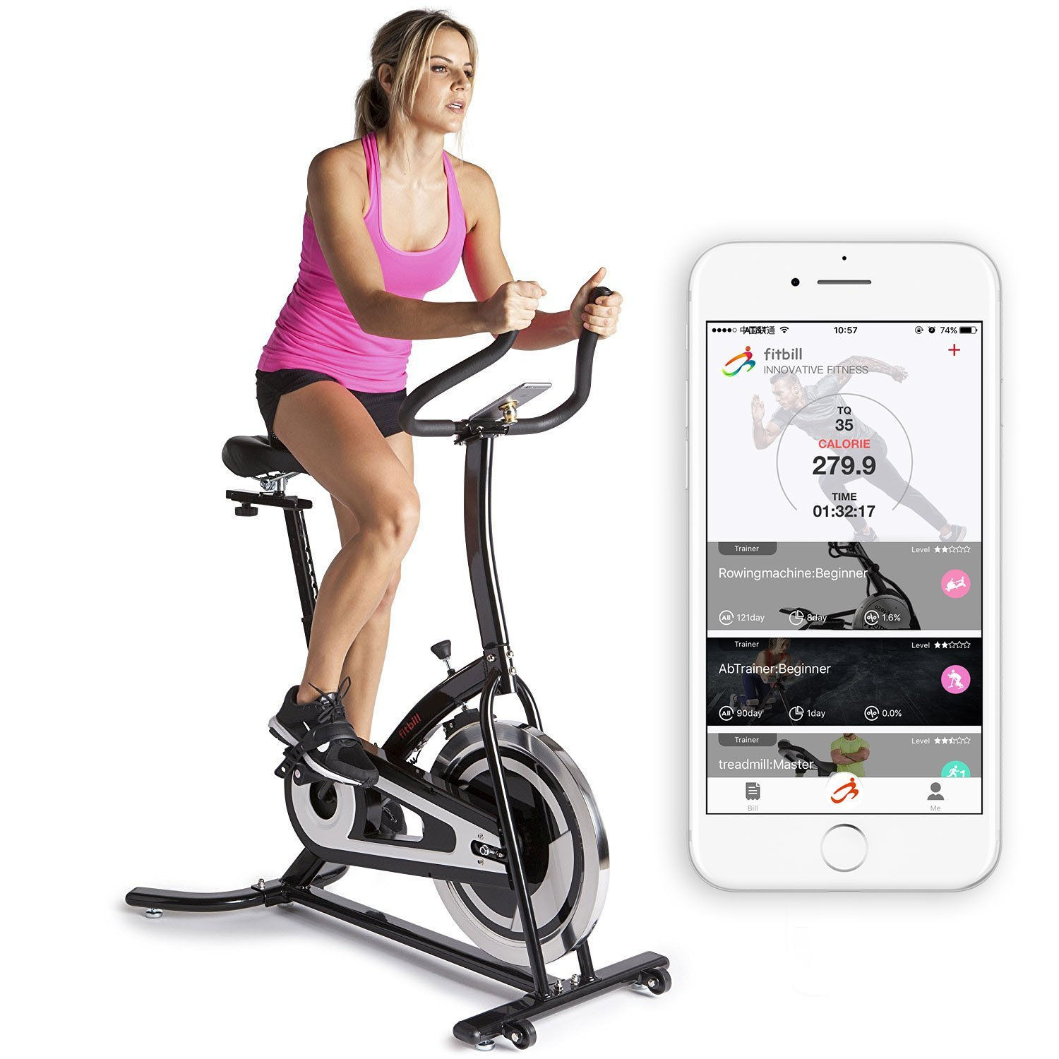 Balanced fitness and cycling signal mountain - Amazon Com Fitbill B603 Smart Indoor Cycling Bike With Bluetooth Sensor Body Weight Scale Fitness App Sports Outdoors