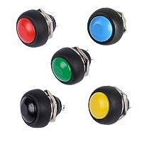 Twshiny PBS-33B 12mm Push Button Waterproof Lockless Momentary ON/OFF Switch 5pcs