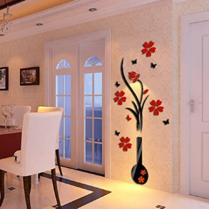 3D Wall Stickers, Ikevan DIY Vase Flower Tree Crystal Arcylic 3D Wall  Stickers Decal Home