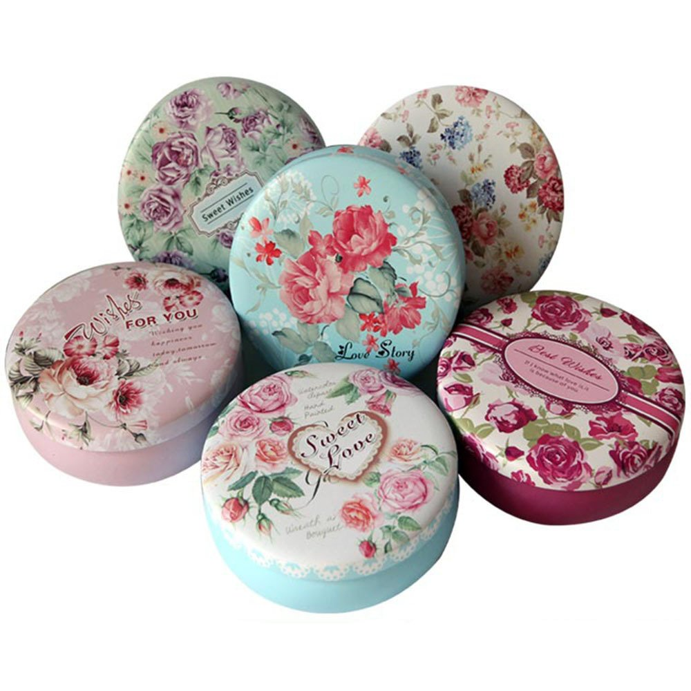 TooGet Elegant Tinplate Empty Tins, Home Kitchen Storage Containers, Shabby Chic Tins for DIY Candles, Dry Storage, Spices, Tea, Candy, Party Favors, and Gifts(Round 6-Pack)
