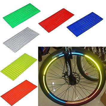 48 rayas 6 colores reflectantes Pegatinas de llanta de bicicleta rueda seguridad MTB bicicleta ciclismo motocicleta rueda Borde Cinta de reflector Decal: ...