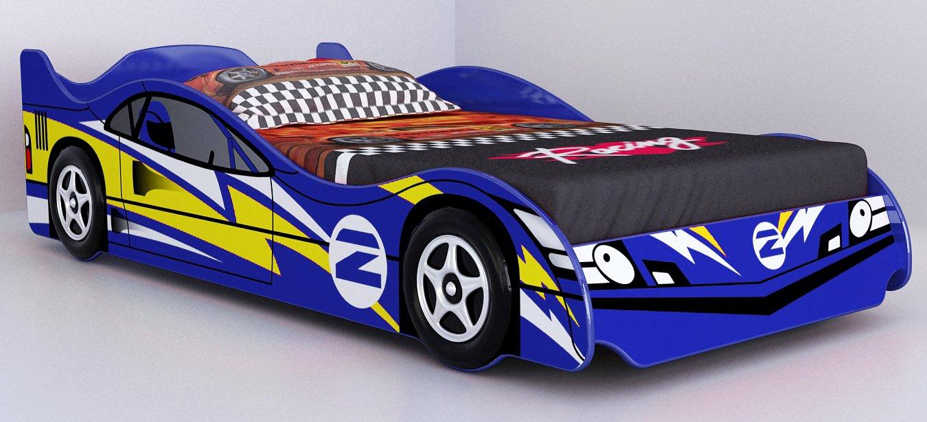 No 2 Blue Childrens Car Beds Boys Racing Blue Kids Car Bed Frame