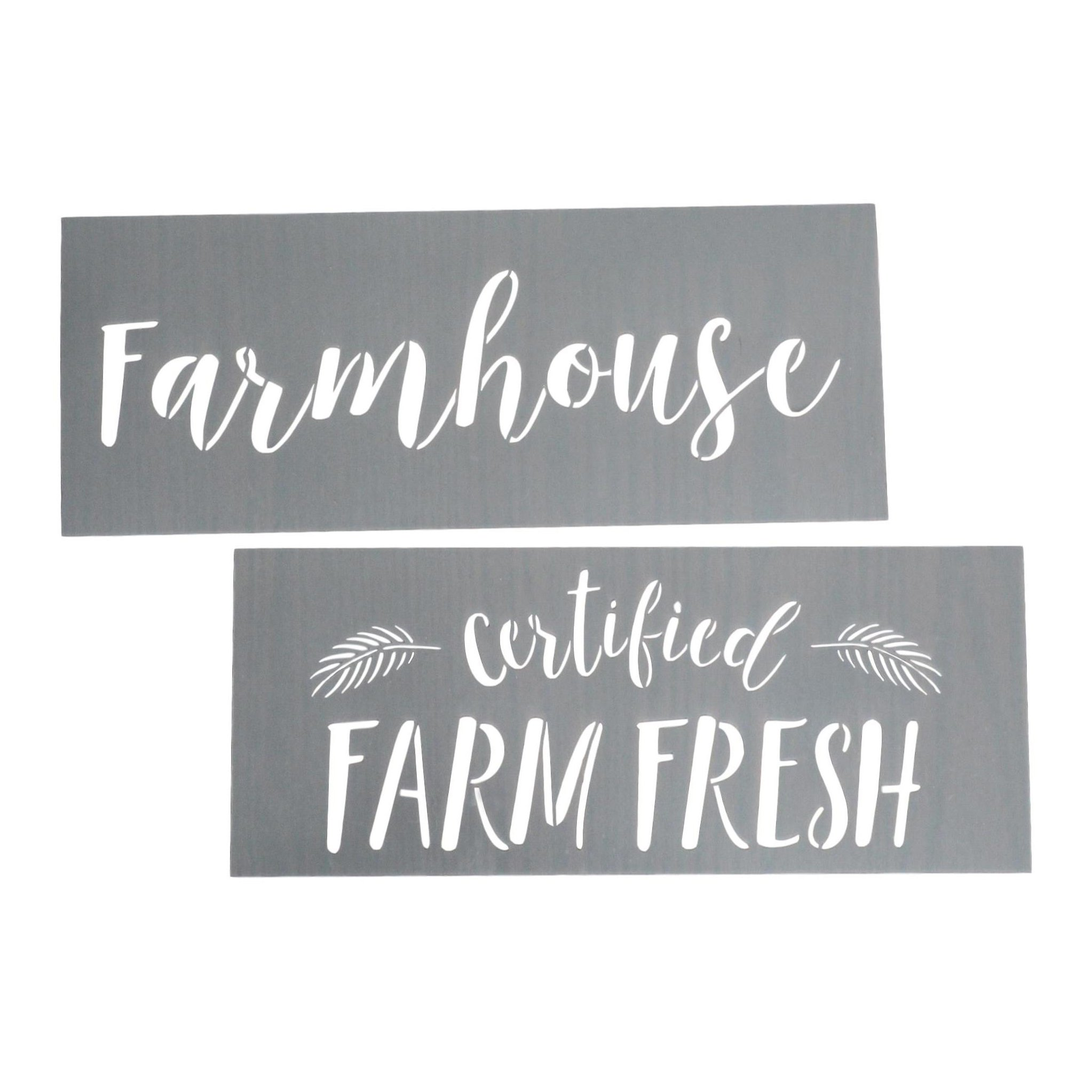 Farmhouse, Certified Farm Fresh Calligraphy Stencilling Set - Country Farmhouse Word Stencils – Set of 2 Reusable Sign Stencils – Easy Rustic DIY Décor