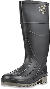 "Servus Iron Duke 15"" PVC Polyblend Men's Steel Toe Work Boots, Black & Gray (18801), 9"