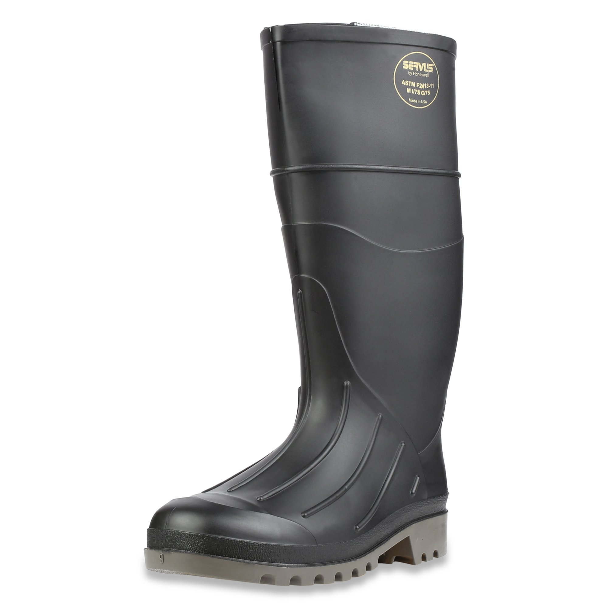 Servus Iron Duke 15'' PVC Polyblend Soft Toe Men's Work Boots, Black & Gray (18802) by Honeywell