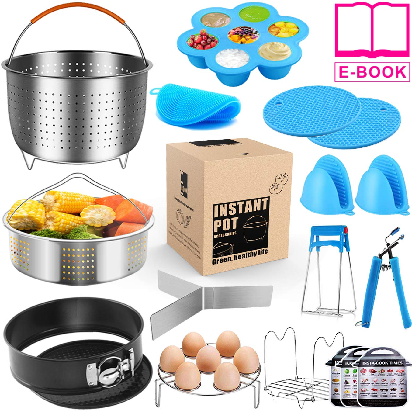 Instant Pot Accessories Set - Instapot Accessories Compatible with 6 qt 8 Quart Insta Pot w/Steamer Baskets,Springform Pan,Egg Bites Mold/Separator/Rack,Kitchen Tongs,Cheat Sheet Magnets - 17 PCS