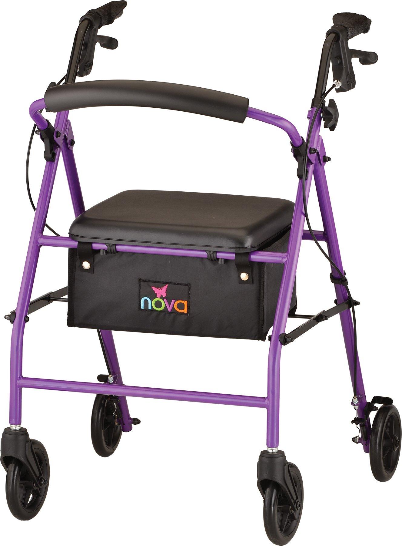 NOVA Vibe 6 Steel Rollator Walker, Purple