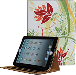 JYtrend iPad 2 /iPad 3 /iPad 4 Case, Multi-Angle Viewing Stand Leather Folio Smart Cover with Pocket, Auto Wake Up/Sleep for Model A1395 A1396 A1397 A1403 A1416 A1430 A1458 A1459 A1460 (Green Flower)