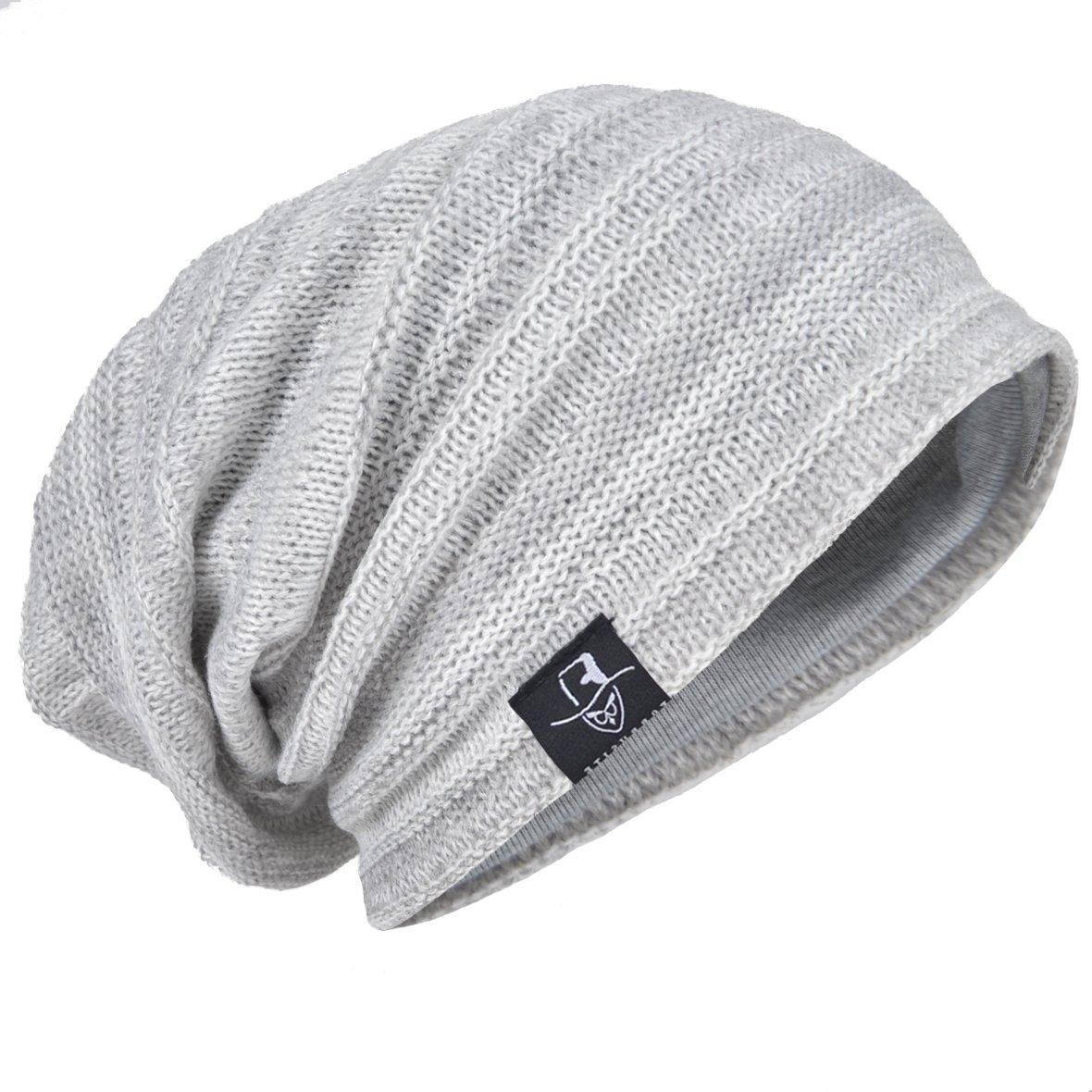 HISSHE Men Oversize Skull Slouch Beanie Large Skullcap Knit Hat (Pale)