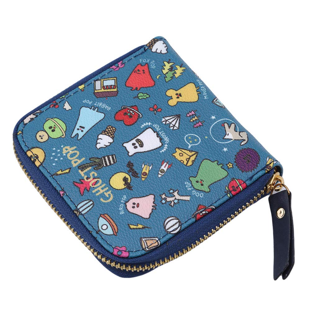 LJSLYJ Women PU Leather Cartton Printed Mini Wallet Card Holder Zip Coin Purse Clutch Handbag