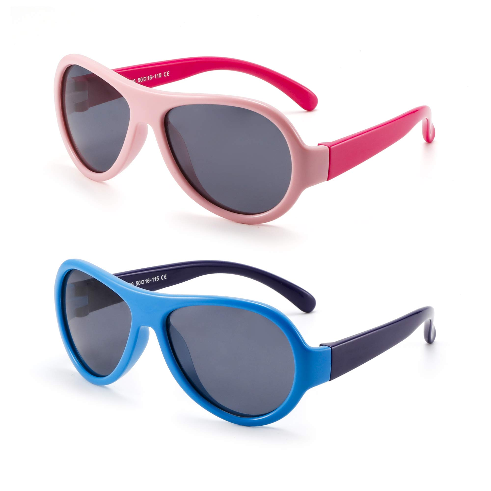 Kids Rubber Polarized Sunglasses Unbreakable Children Girls Boys Age 3-12 2 Pack (Pink & Blue)