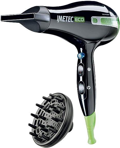 Imetec Eco SE1 1000 Asciugacapelli con Tecnologia Eco Efficiency, 1400 W, 8 Combinazioni AriaTemperatura, Diffusore per Capelli Ricci, NeroVerde