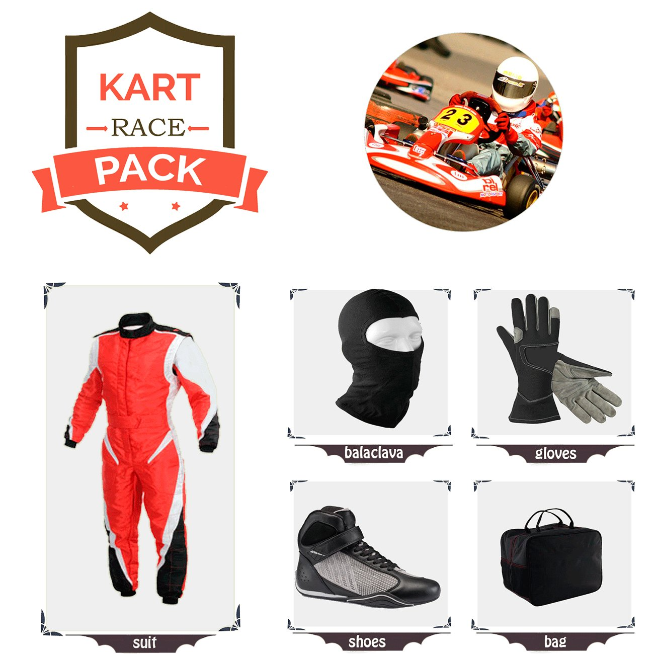 Sports Blue Go Kart Racing Suit Suit,Gloves,Balaclava and Shoes Free Bag - Red with Black Style by Sports Blue
