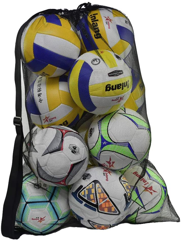 Basketball Football Mesh Carrying Bag Sport Training Balls Backpack Pouch