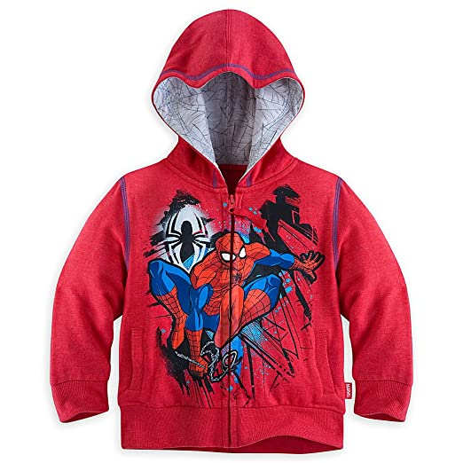 fe91a586e27 Amazon.com  Disney Store Spider-Man Zip Front Hoodie Hooded Jacket ...