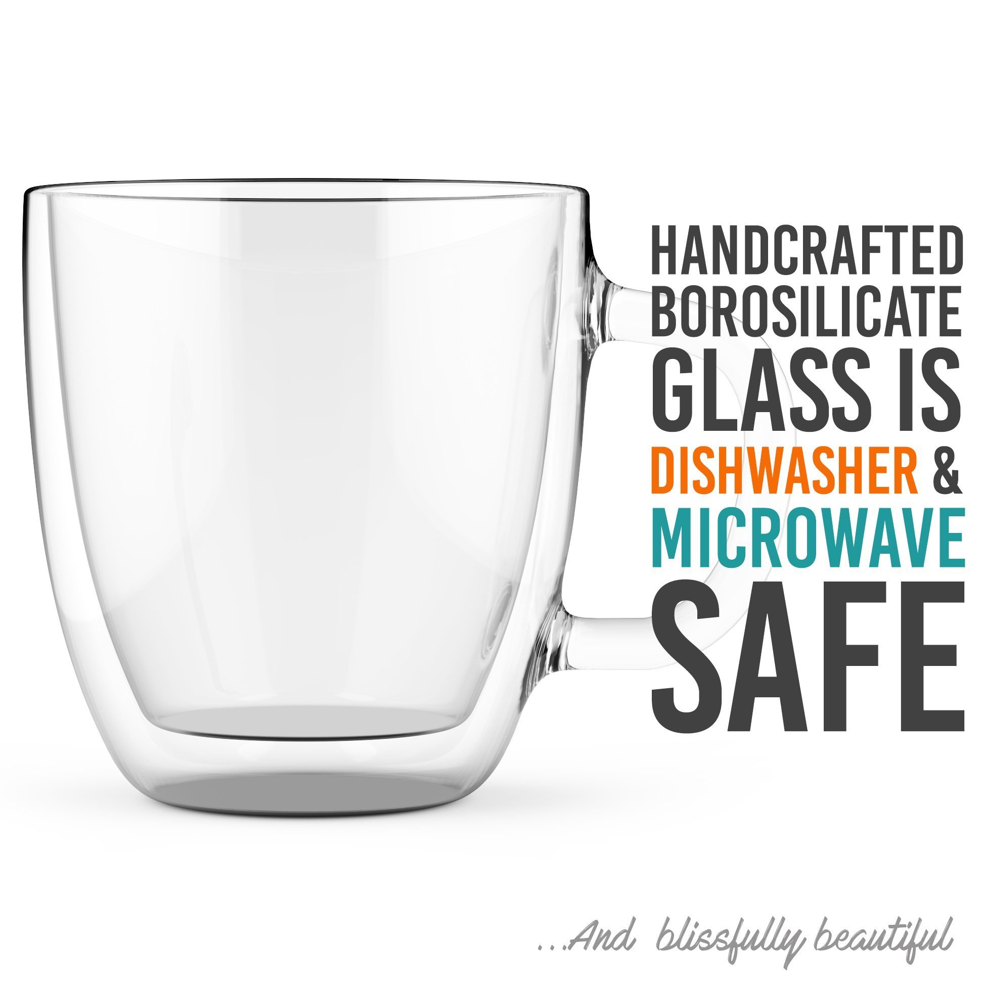 Large Coffee Mugs, Double Wall Glass Set of 2, 16 oz - Dishwasher & Microwave Safe - Clear, Unique & Insulated with Handle, By Elixir Glassware by Elixir Glassware (Image #5)