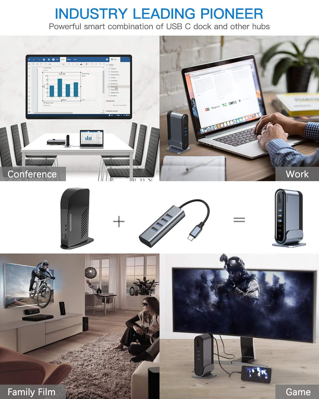 PC Laptops Audio Baseus USB C Dock Universal Docking Station with 3 HDMI 4K 100W USB-C PD SD//TF Card Reader for Windows Ethernet USB-C 4K Triple Display Docking Station 5 USB Ports Mac