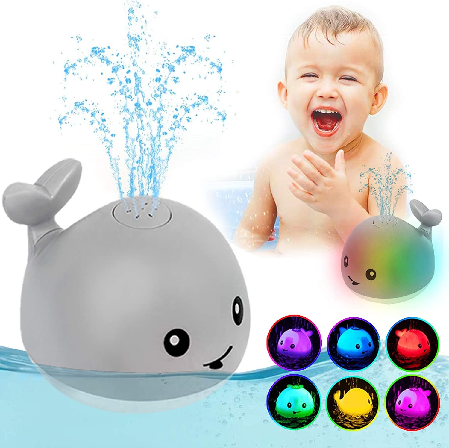 ZHENDUO Baby Bath Toys, Whale Automatic Spray Water Bath Toy with LED Light, Induction Sprinkler Bathtub Shower Toys for Toddlers Kids Boys Girls, Pool Bathroom Toy for Baby (Gray)