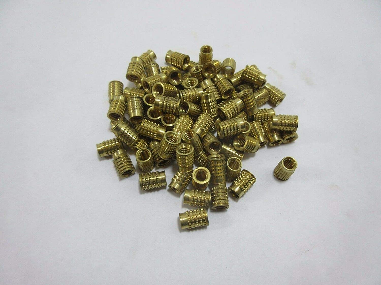 1//4-20 Brass Push in Threaded Insert 0.5 Long 10 pcs