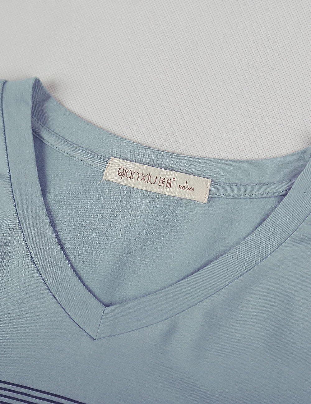 b1ddf46888d2f0 QianXiu Männer Pyjama Set Baumwolle Schlafanzüge Einfache Nachtwäsche  Gemütliches Soft Home Kleidung: Amazon.de: Bekleidung
