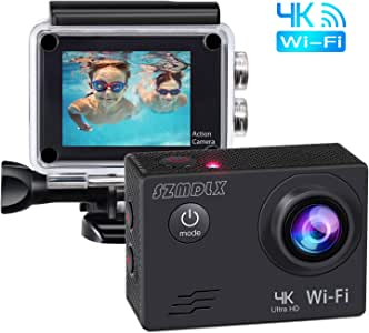 SZMDLX Action Camera 4K 16MP WiFi Sport Cam Ultra HD 30m Underwater Waterproof Camcorder 170° Wide Angle Lens with Thermal Design and Mounting Accessories Kits