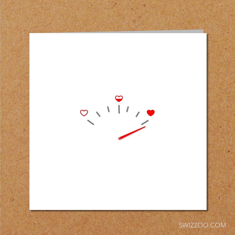 Handmade Girlfriend card Love you love meter // gauge Missing You Heart Minimal design drawing Birthday Valentine card boyfriend card