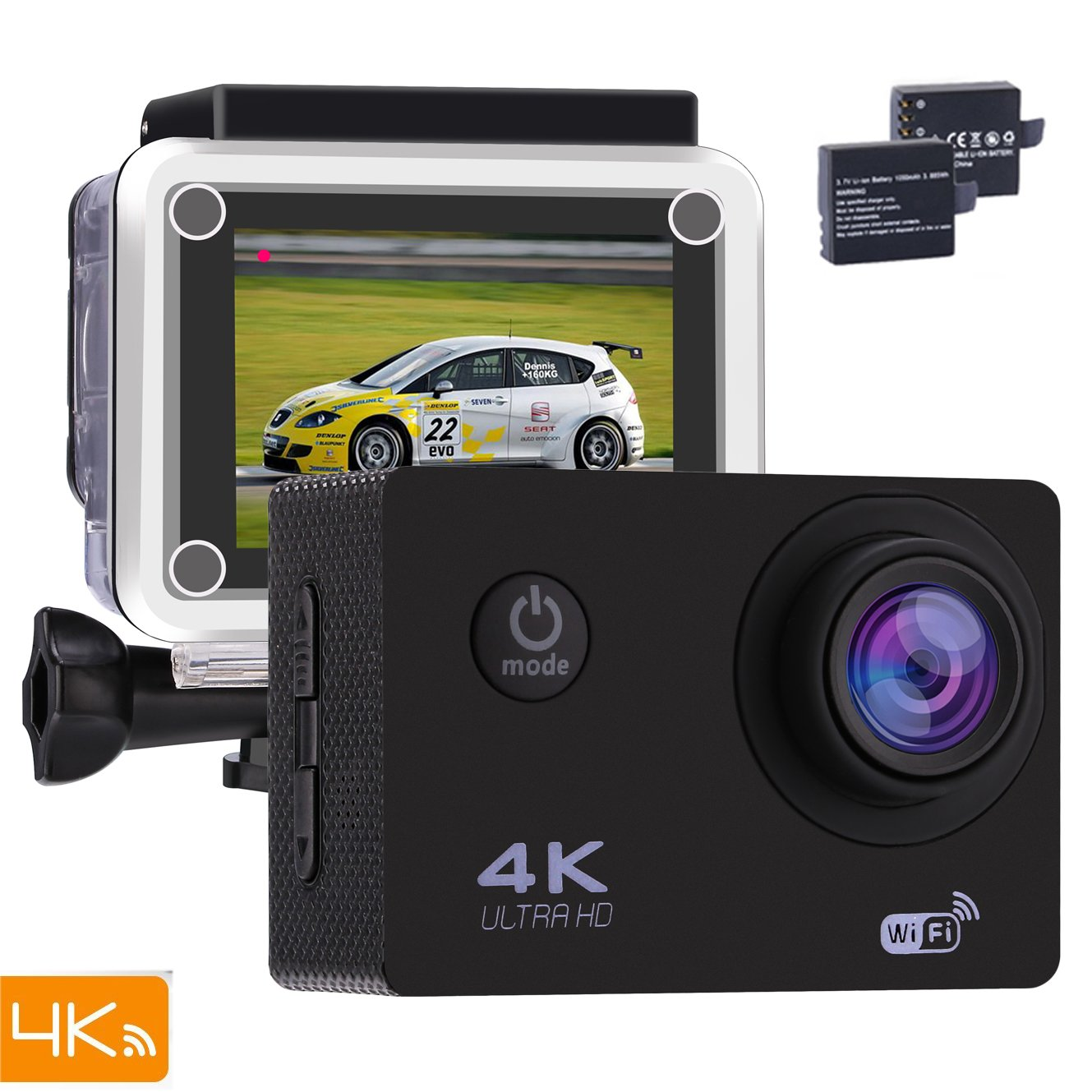 Action Camera Bnoia 4K Underwater Camera 30M Full HD 2.0'' LCD Wi-Fi 16MP Waterproof Camcorder170° Ultra Wide Angle Lens With Mounting Accessories Kit for Cycling Swimming Climbing (Version-1)