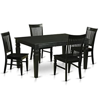 East West Furniture WEST5 BLK W 5 Piece Dining Table Set