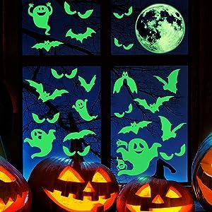 41 Pieces Halloween Luminous Decals Glow in Dark Wall Stickers Set, Weird Moon Bats Luminous Ghost Peeping Eyes Decorations for Halloween