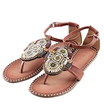 0026652ecef6c Lumino Fashion Pearl Ethnic Totem Floral Beach Sandal Flip Flops Ladies Summer  Sandals For Women Flats
