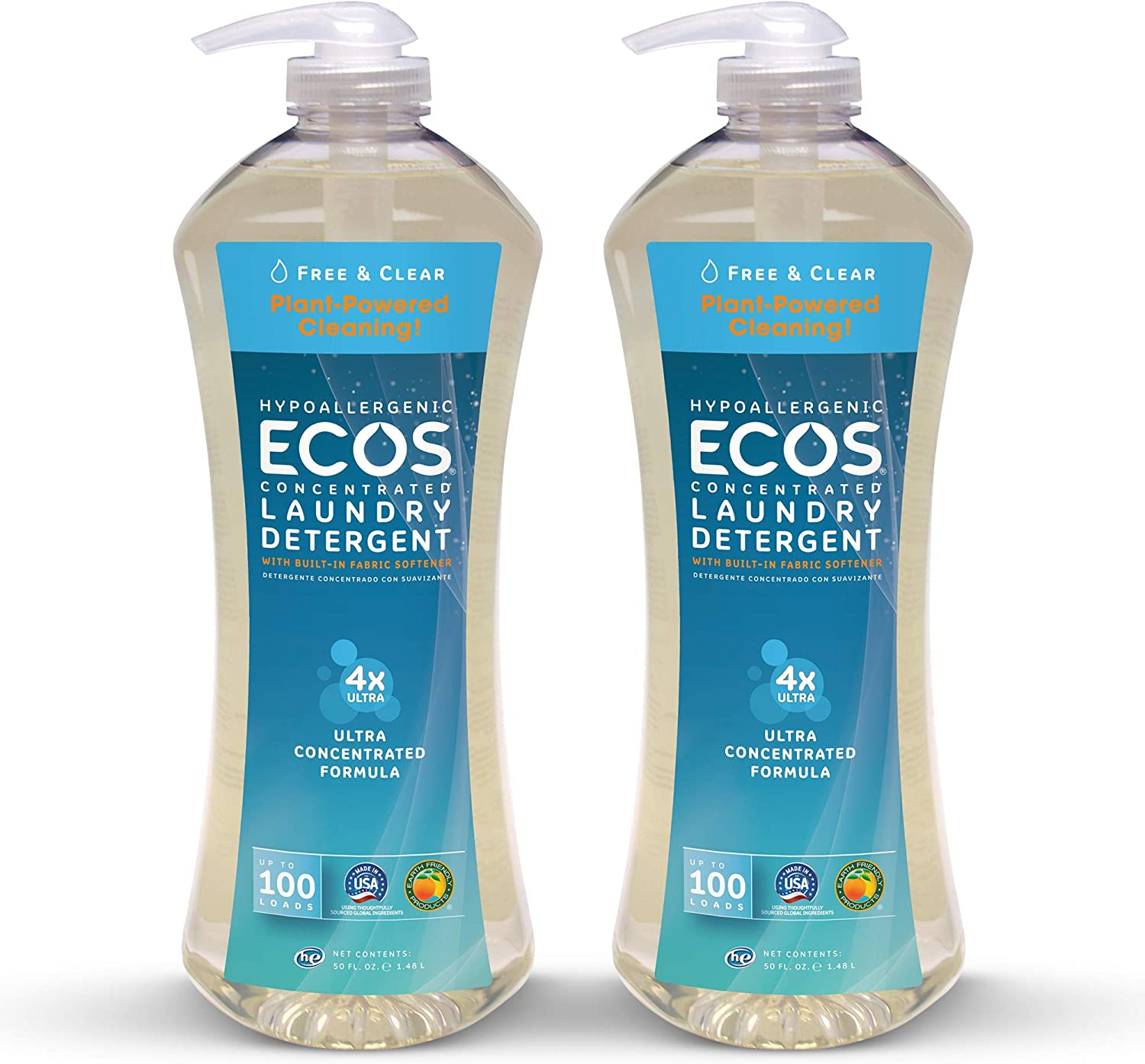 Earth Friendly Products Ecos 4X Ultra Concentrated Liquid Laundry Detergent, 200 Loads, 2 x 50 oz Free & Clear (2Count)