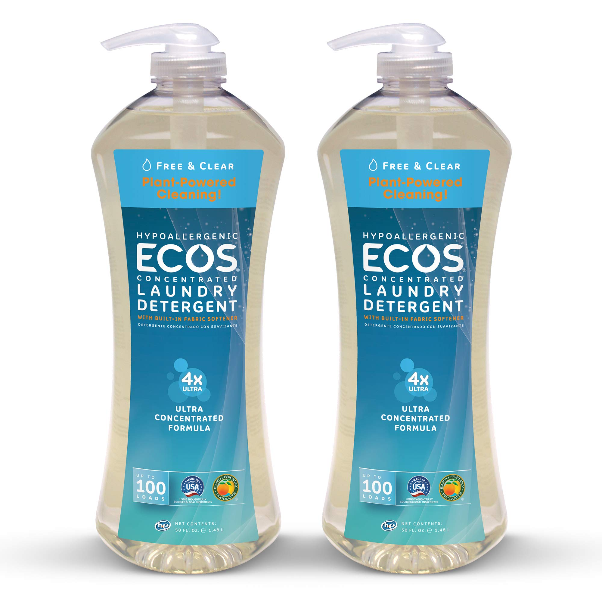 Earth Friendly Products Ecos 4X Ultra Concentrated Liquid Laundry Detergent, 200 Loads, 2 x 50 oz Free & Clear (2Count) by Earth Friendly Products