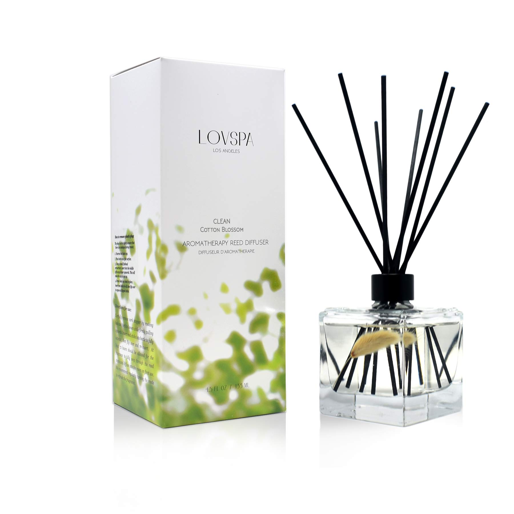 LOVSPA Clean Cotton Blossom Reed Diffuser Oil and Sticks Gift Set | Airy Green Floral with Powdery Woods, Sun Dried Linen & Mandarin Blossom | Best Housewarming Gift Idea | Made in The USA by LOVSPA (Image #1)