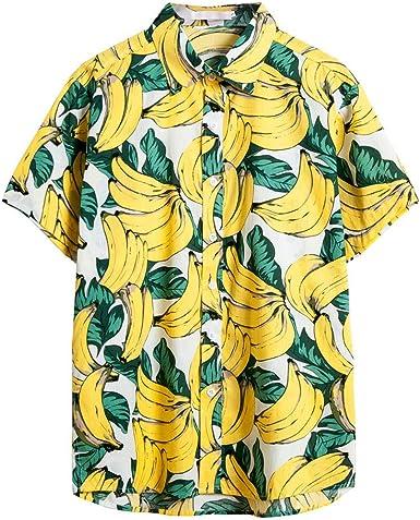 MEIbax Vacaciones Hawaianas Camiseta de Hombre Estampada El botón Camisa Manga Corta Hombre Ocio Suelto Tops Hombre Explosión Ropa de Playa Hombres Cómodo Transpirable Ropa Deportiva Hombres: Amazon.es: Ropa y accesorios