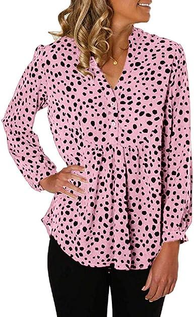 Camisa de Leopardo para Mujer Camiseta Casual de Manga Larga con Cuello en V y Botones Blusa Informal Rosa M: Amazon.es: Ropa y accesorios