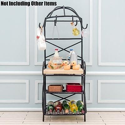Odoria 1:12 Miniature Metal Wine Rack Black Storage Shelf Dollhouse Furniture Accessories: Toys & Games