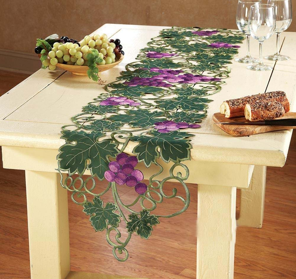 QXFSMILE Handmade Crochet Table Runner Embroidered Grape And Leaves Unique Home Decoration 15 By 70 Inch