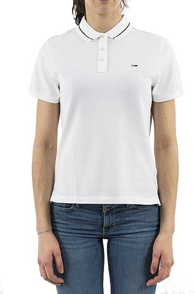 Tommy Jeans Polo Clasico Blanco Mujer XL Blanco: Amazon.es ...