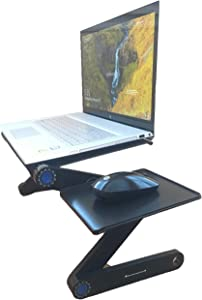 Best Office Solutions Portable Adjustable Aluminum Laptop Stand/Desk/Table Vented w/Laptop Fans Mouse Pad Side Mount-Notebook-MacBook-Light Weight TV Bed Desk Lap Tray Sitting-Black/Stand Up