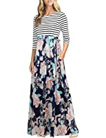 HNNATTA Women 3/4 Sleeve Striped Floral Print Tie Waist Party Maxi Dress With Pockets