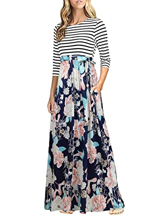 11e3fc5c2c7 HNNATTA Women 3 4 Sleeve Striped Floral Print Tie Waist Party Maxi ...